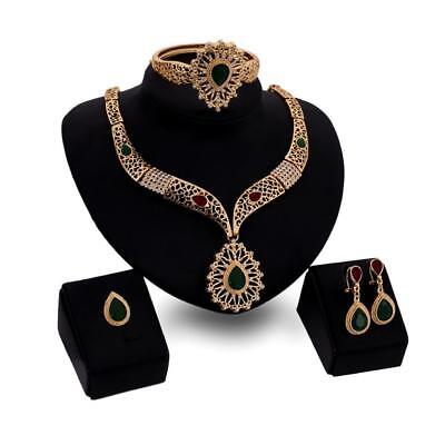 Fashion Women Gold Plated Gemstone Bridal Jewelry Sets Necklace Earring Set ZX