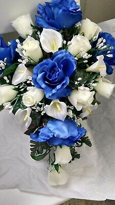 ROYAL BLUE AND Ivory Calla Lily Boutonniere Pin Corsage Rhinestones ...