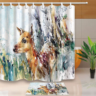 Wild Animal Watercolor Deer Bathroom Shower Curtain Waterproof Fabric & 12 Hook