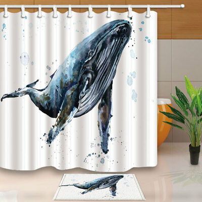 Whale Ink Painting Shower Curtain Home Waterproof Fabric 71 Inches With Hooks