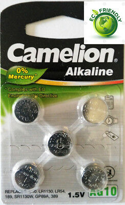 5pcs AG10 LR54 389 Button Cell Coin Alkaline Battery 1.5V Watch Toy 0% Mercury