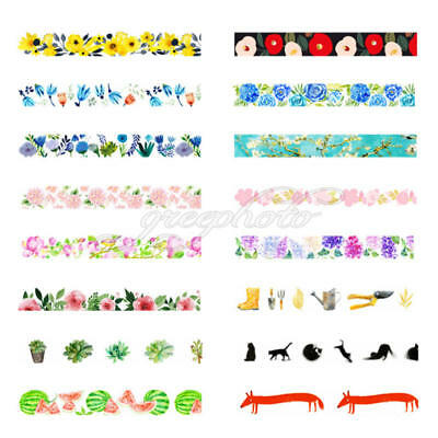 Color Washi Sticky Masking Set Paper Sticker Tape Scrapbook Adhesive Hot x 1