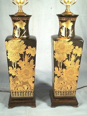 Vintage Pair Of Mid Century Asian Black Glazed Ceramic Lamps With Gilt Flowers