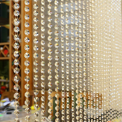 1PC String K9 Glass Crystal Bead Drape Door Valance Hanging Curtain Room Divider