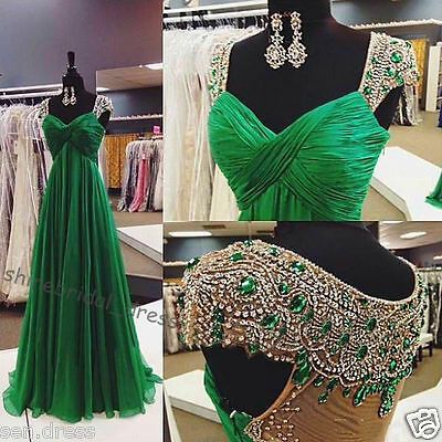 Fashion Green Crystals Beaded Long Prom Party Pageant Evening Dress Bridal Gowns