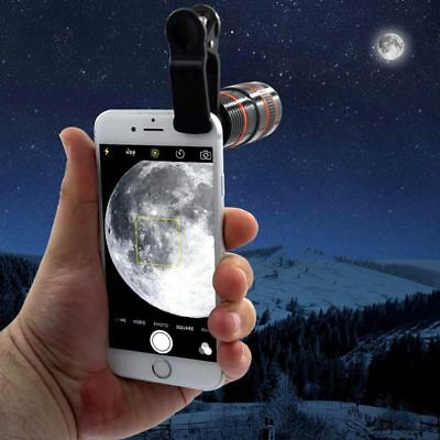 HD Clip-on 12x Optical Zoom Universal Mobile iPhone Telescope Camera Lens For uk