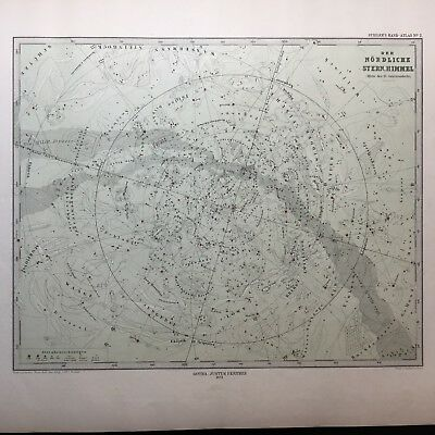 Lg. Antique PERTHES 1872 Map of Northern Celestial Hemisphere Stars Heavens MAP