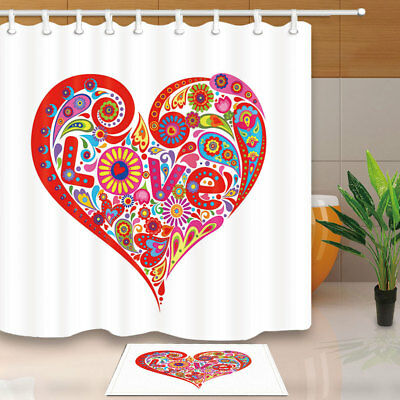 Abstract Heart With Colorful Flower Shower Curtain Waterproof Fabric & Hooks 71""