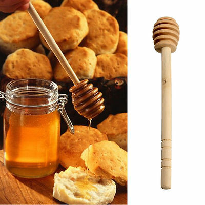2x Honey Dipper Wooden Stick Spoon Dip Drizzler Server 145 mm de laFsW