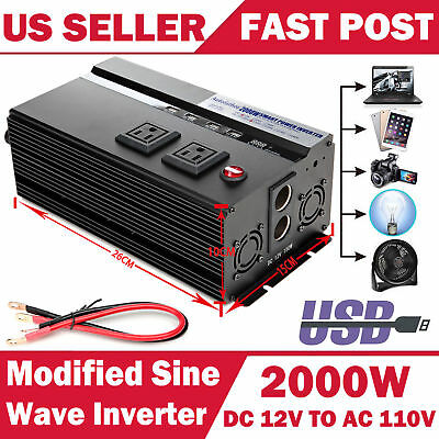 2000 Watt DC 12V AC 110V Car Power Inverter Electronic Charger Converter US Plug
