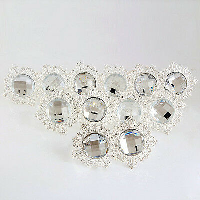 12PCS Diamond Napkin Ring Serviette Holder Wedding Banquet Dinner Decor Arcylic
