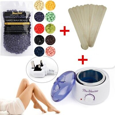 300g Depilatory Hard Wax Beans Pellet Body Hair Removal+ Waxing Pot Heater diy