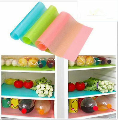 4/8Pcs 29*45cm Kitchen Antibacterial Cabinet Pad Anti Slip Fridge Liner Mat NEW