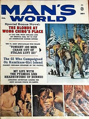 Man's World Apr 1962 Harry Schaare, Cohen; Ray Johnson; Herb Mott, WWII Cover VG