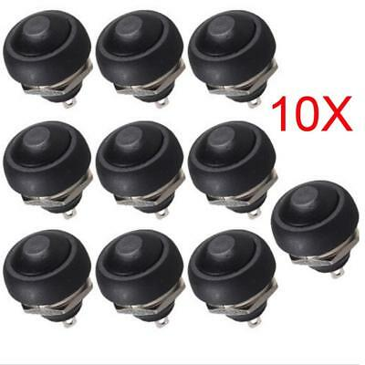 DS-333 12mm Waterproof Momentary ON/OFF Push Button Mini Round Switch Black ZX