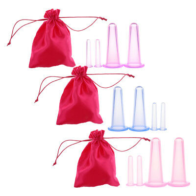 12x Silicone Massage Cupping Facial Eys Vacuum Therapy Cups Anti-Cellulite