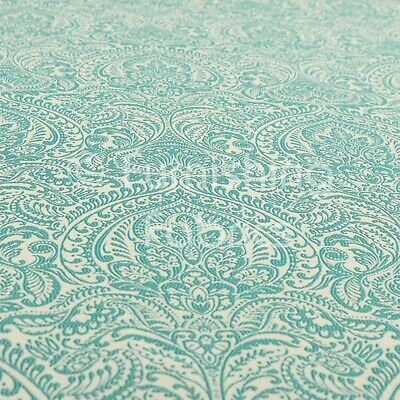 Lightweight Chenille Damask Floral Pattern Teal Colour Upholstery Curtain Fabric