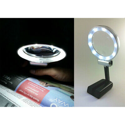 3X LED Light Folding Handheld Magnifier Desktop Magnifying Glass for Reading