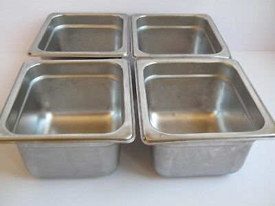 "4 pcs ABC Prestige Steam Table Hotel Pan 1/6 Size 4"" Deep Stainless Steel NSF"
