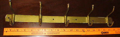 "Antique Vintage Coat Hook Rack 18"" -5 Hooks Gold Tone Cast Iron Wall Mount"