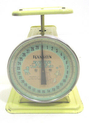 Vintage 1950s Metal Hanson Nursery Baby Scale Yellow 30 Pound Medical