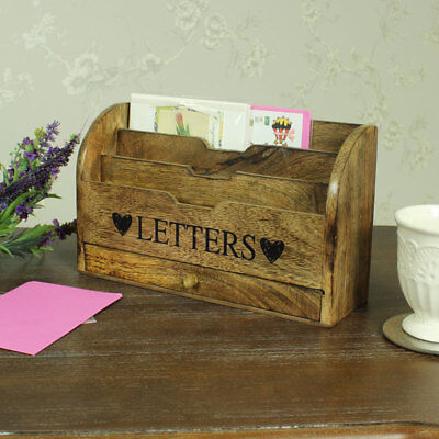 Rustic wood letter post rack organiser shabby vintage chic storage office home