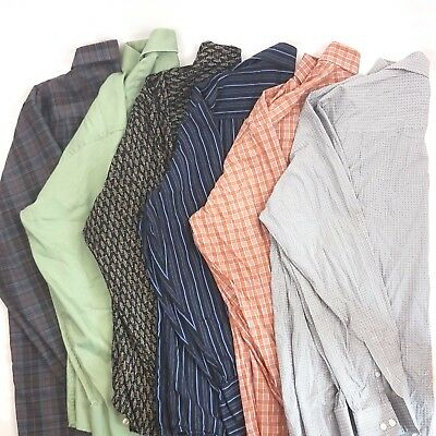 Men's Casual Shirts Lot of 6 Random Button Front Solid Strip plaid S M L XL XXL