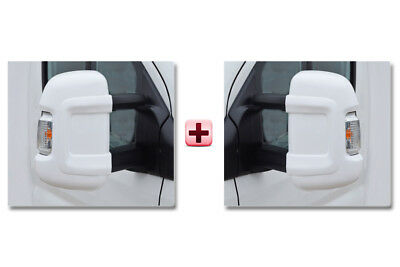 Peugeot Boxer Door Mirror Casing PROTECTOR Protective Cover WHITE LONG Pair 2006