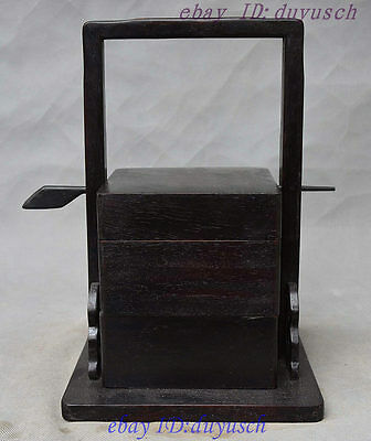 Folk Collection Chinese Ebony Rosewood Wood handcrafted Portable Drawer Food Box