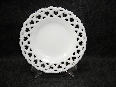 Old Milk Glass Open Lace Edge Scalloped Floral Lattice Plate Vintage Reticulated