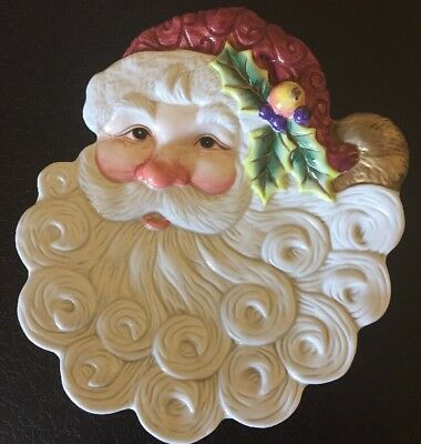 NIB FITZ AND FLOYD Christmas Holiday Santa Canapé Plate Early Version with Holly