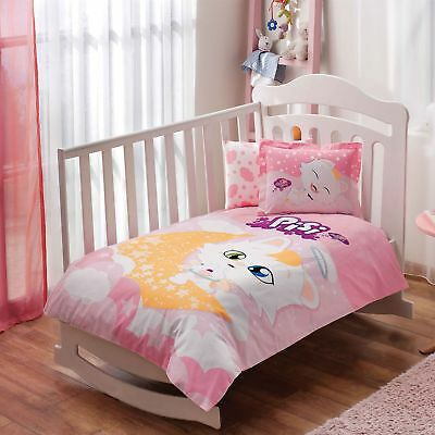 100% Organic Cotton Pisi Cat Soft and Healthy Baby Cot Bed Duvet Cover Set 4 Pcs