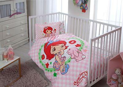 100% Organic Cotton Strawberry Soft and Healthy Baby Cot Bed Duvet Cover Set 4Pc