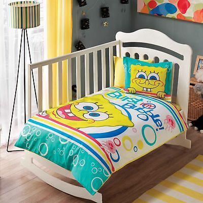 100% Organic Cotton Sponge Bob Soft and Healthy Baby Cot Bed Duvet Cover Set 4Pc