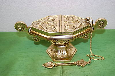 """7 1/4""""TRADITIONAL BRASS GOTHIC BOAT&SPOON #68 (Censer, THURIBLE Chalice, Church)"""