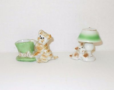 2 Vintage Occupied Japan Small Porcelain Dog Figurines Top Hat Lamp Toothpick