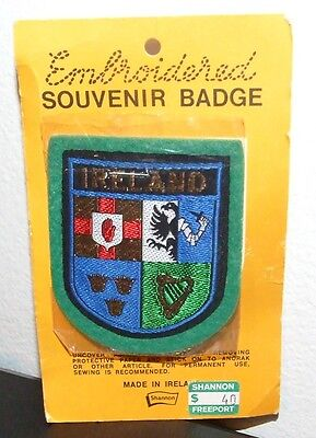 Vintage Ireland Embroidered Souvenir Badge/Patch - by Shannon, Made in Ireland