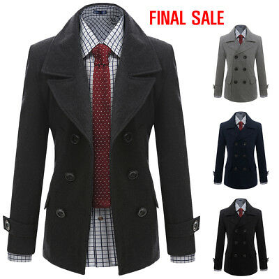 [FINAL SALE]Doublju Mens Casual Double Wool Jacket Outer