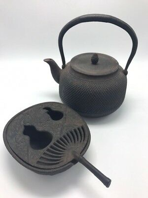 Antique 18/19th C Japanese Iron Tea Kettle with Warmer Signed Very Old
