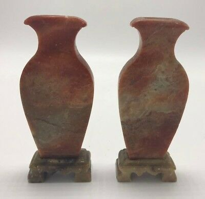 A Pair of Early 20th C Chinese Carved Soapstone Vases