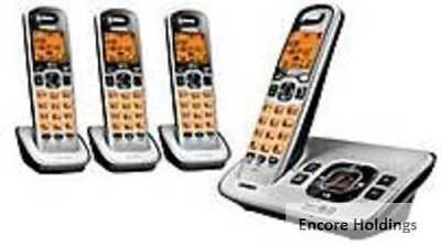 Uniden D1680-4 DECT 6.0 Analog Cordless Phone With 4- Handsets - Silver