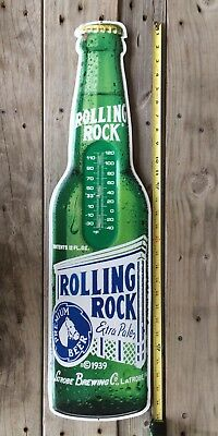 ROLLING ROCK - DieCut Metal BEER BOTTLE SHAPED Thermometer Sign