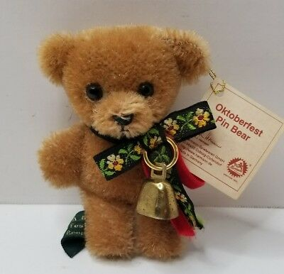 """Hermann 4"""" Oktoberfest Teddy Bear Pin With Tags Made In Germany"""