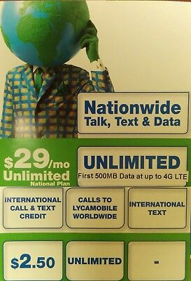 LYCAMOBILE PRELOADED 3 in 1 SIM W/ 1 MONTH OF THE $29 PLAN INCLUDED
