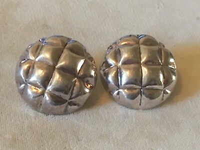 Large Pair of Vintage Sterling Silver Button Pierced Earrings