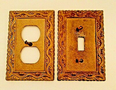 Lot of 2 Vintage Metal 1-GANG TOGGLE + DUPLEX OUTLET Matching Wall Plates - Gold