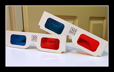 12 x 3D - ANAGLYPH RED/CYAN OPTICAL GLASSES FILM, PHOTOS, 8mm,16mm, 35mm