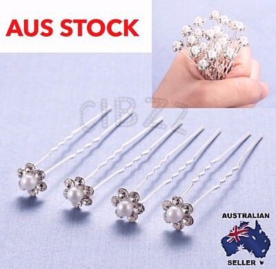 20x Hair Pins Crystal Pearl Bridal Wedding Bun Accessory Rhinestone Clip U shape