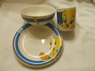 Gibson Looney Tunes Tweety Bird Plate Cup Bowl Set 1998