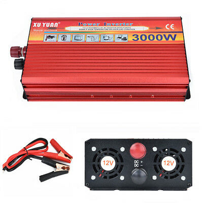 Smart Power Inverter 3000W Max Car DC 12V to AC 110V Power Converter USB Charger